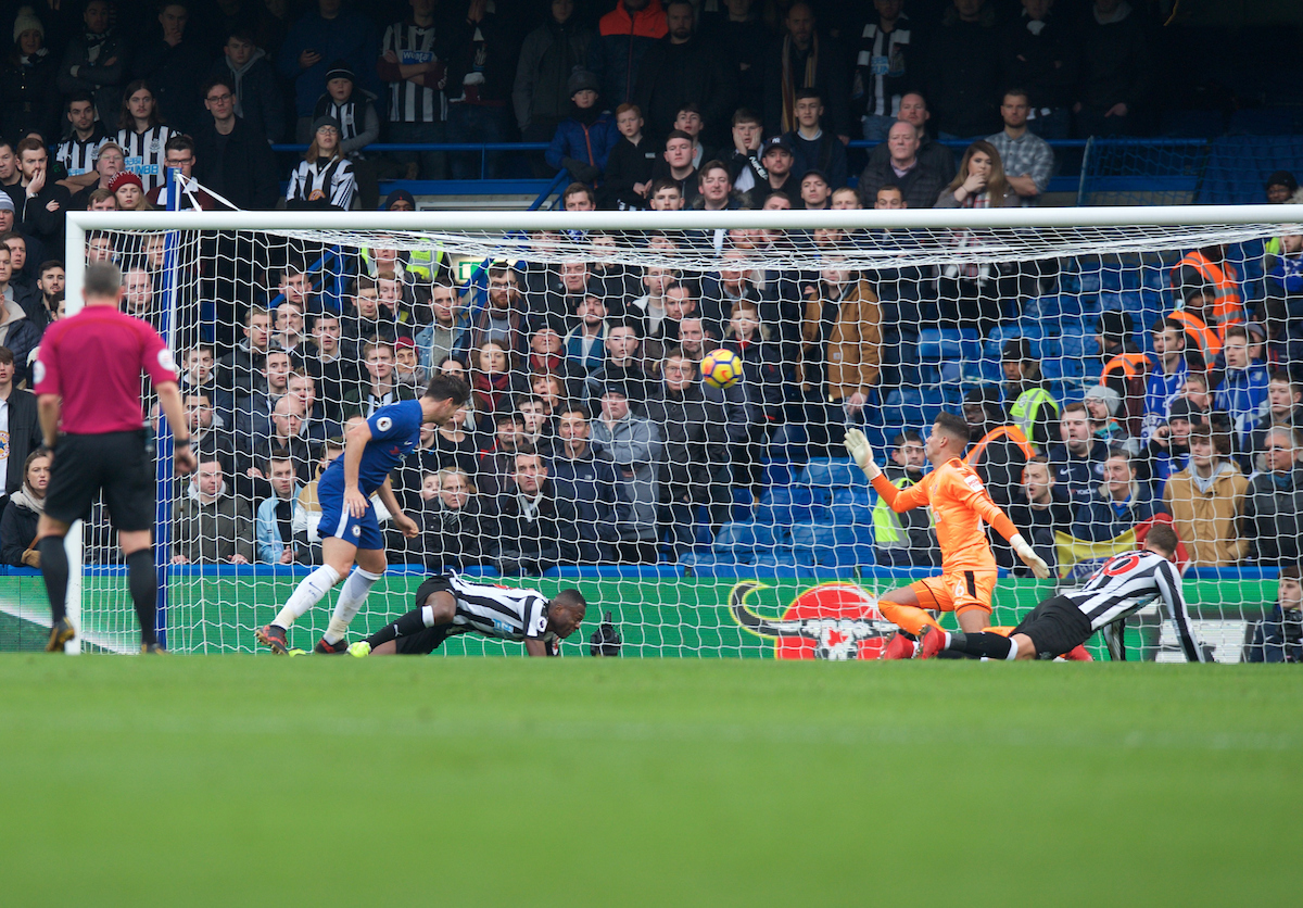 Alvaro Morata of Chelsea scores his side's 2nd goal to make it 2-1 during the Premier League match at Stamford Bridge, London Picture by Alan Stanford/Focus Images Ltd +44 7915 056117 02/12/2017