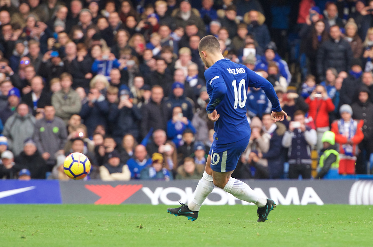 Eden Hazard of Chelsea scores from the penalty spot to make it 3-1 during the Premier League match at Stamford Bridge, London Picture by Alan Stanford/Focus Images Ltd +44 7915 056117 02/12/2017