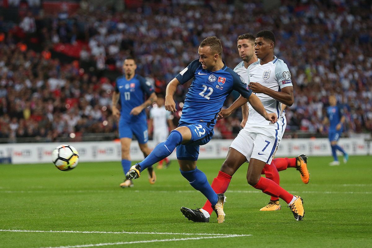 Stanislav Lobotka of Slovakia scores his sides 1st goal during the 2018 FIFA World Cup Qualifying match at Wembley Stadium, London Picture by Paul Chesterton/Focus Images Ltd +44 7904 640267 04/09/2017