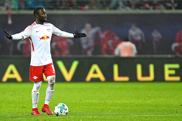 "Naby Keïta of RB Leipzig who will join Liverpool FC on 1st July 2018 after Liverpool FC agreed to pay his contract release fee of £48M plus an additional premium. Keita is pictured in front of an advertising board with the word ""Value"" behind him during the Bundesliga match at Red Bull Arena, Leipzig between RB Leipzig and Werder Bremen on 25/11/2017 Picture by Kristian Kane/Focus Images Ltd +44 7814 482222 25/11/2017"