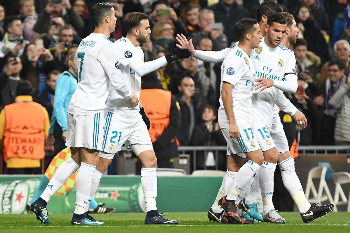 Borja Mayoral of Real Madrid (l2nd left) celebrates scoring their first goal to make it Real Madrid 1 Borussia Dortmund 0 during the UEFA Champions League match at the Estadio Santiago Bernabeu, Madrid Picture by Kristian Kane/Focus Images Ltd +44 7814 482222 06/12/2017