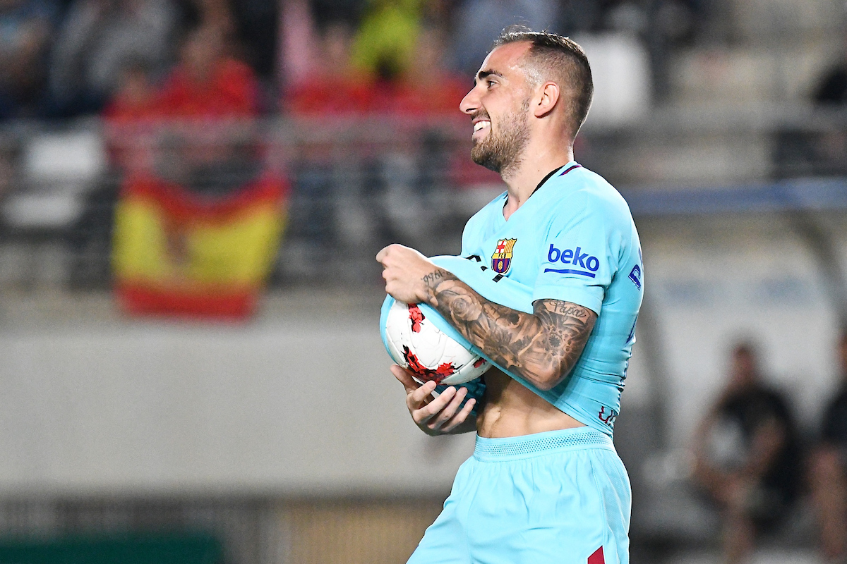 Paco Alcácer of FC Barcelona  celebrates scoring their first goal to make it Real Murcia 0 FC Barcelona 1 during the Copa del Rey match at Estadio Nueva Condomina, Murcia Picture by Kristian Kane/Focus Images Ltd +44 7814 482222 24/10/2017