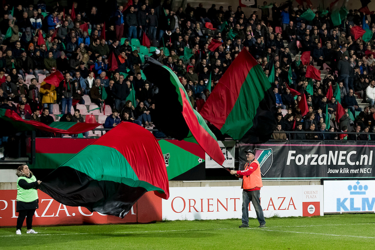 NEC supporters waving flags before the Dutch Eredivisie match at Stadion de Goffert, Nijmegen Picture by Joep Joseph Leenen/Focus Images Ltd +316 5261929 18/03/2017 ***NETHERLANDS OUT***