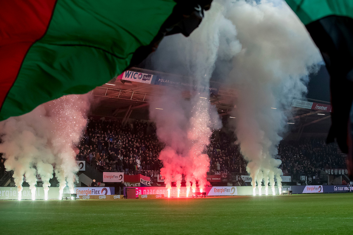 Fireworks and flags before the Dutch Eredivisie match at Stadion de Goffert, Nijmegen Picture by Joep Joseph Leenen/Focus Images Ltd +316 5261929 18/03/2017 ***NETHERLANDS OUT***