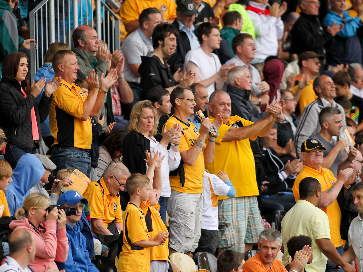 Picture by Tom Smith/Focus Images Ltd 07545141164 28/07/2013 Fans of Newport County look happy with the score during the Pre Season Friendly match at Rodney Parade, Newport.