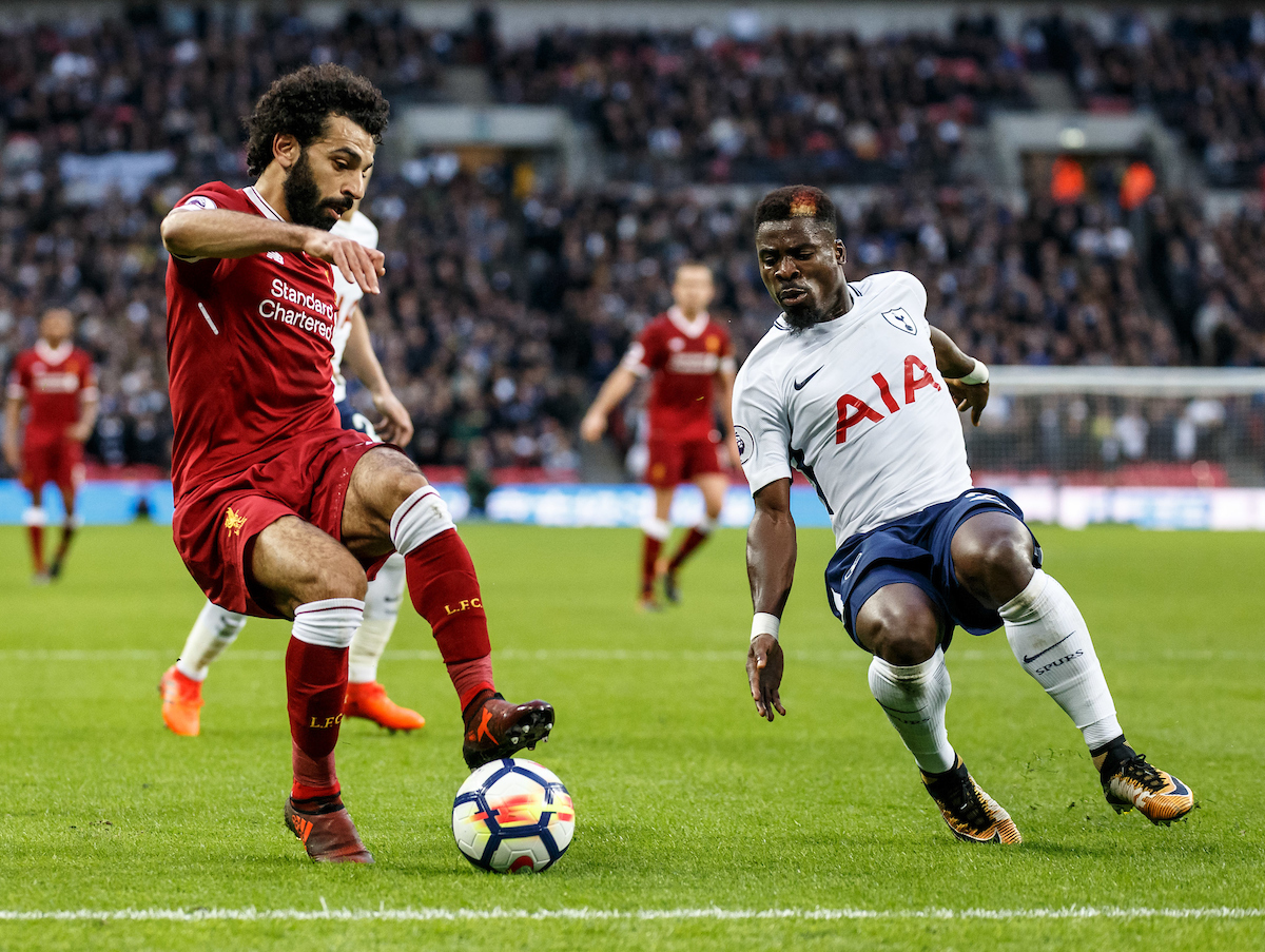 Mohamed Salah of Liverpool and Serge Aurier of Tottenham Hotspur during the Premier League match at Wembley Stadium, London Picture by Liam McAvoy/Focus Images Ltd 07413 543156 22/10/2017