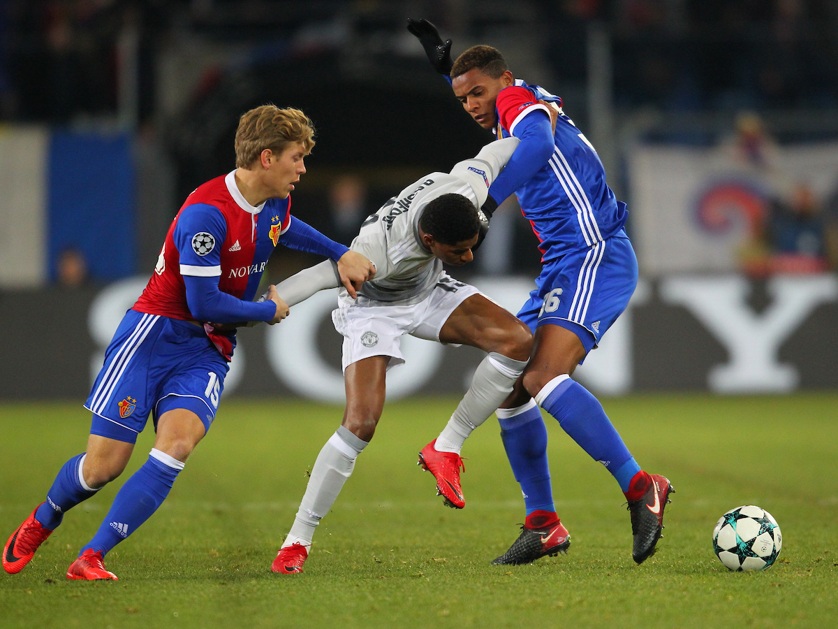 Alexander Fransson and Manuel Akanji of FC Basel and Marcus Rashford of Manchester United during the UEFA Champions League match at St. Jakob-Park, Basel Picture by Yannis Halas/Focus Images Ltd +353 8725 82019 21/11/2017