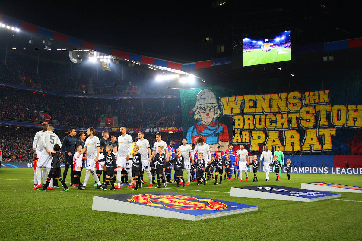 A General View of St. Jakob-Park with both Teams on the pitch during the UEFA Champions League match at St. Jakob-Park, Basel Picture by Yannis Halas/Focus Images Ltd +353 8725 82019 21/11/2017