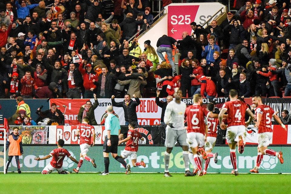 El Bristol City eliminó al Manchester United en los cuartos de final de la Copa de la Liga. Foto: Focus Images Ltd. Picture by Alex Burstow/Focus Images Ltd 07814032530 20/12/2017