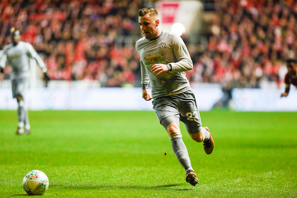 Manchester United's Luke Shaw runs with the ball during the Carabao Cup Quarter Final match at Ashton Gate, Bristol Picture by Alex Burstow/Focus Images Ltd 07814032530 20/12/2017