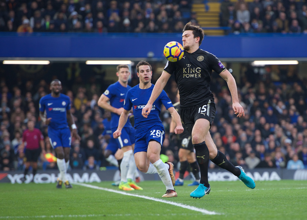 Harry Maguire of Leicester City during the Premier League match at Stamford Bridge, London Picture by Alan Stanford/Focus Images Ltd +44 7915 056117 13/01/2018