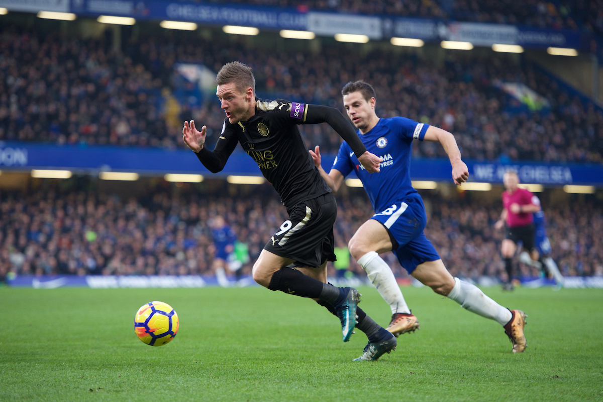 Jamie Vardy of Leicester City during the Premier League match at Stamford Bridge, London Picture by Alan Stanford/Focus Images Ltd +44 7915 056117 13/01/2018
