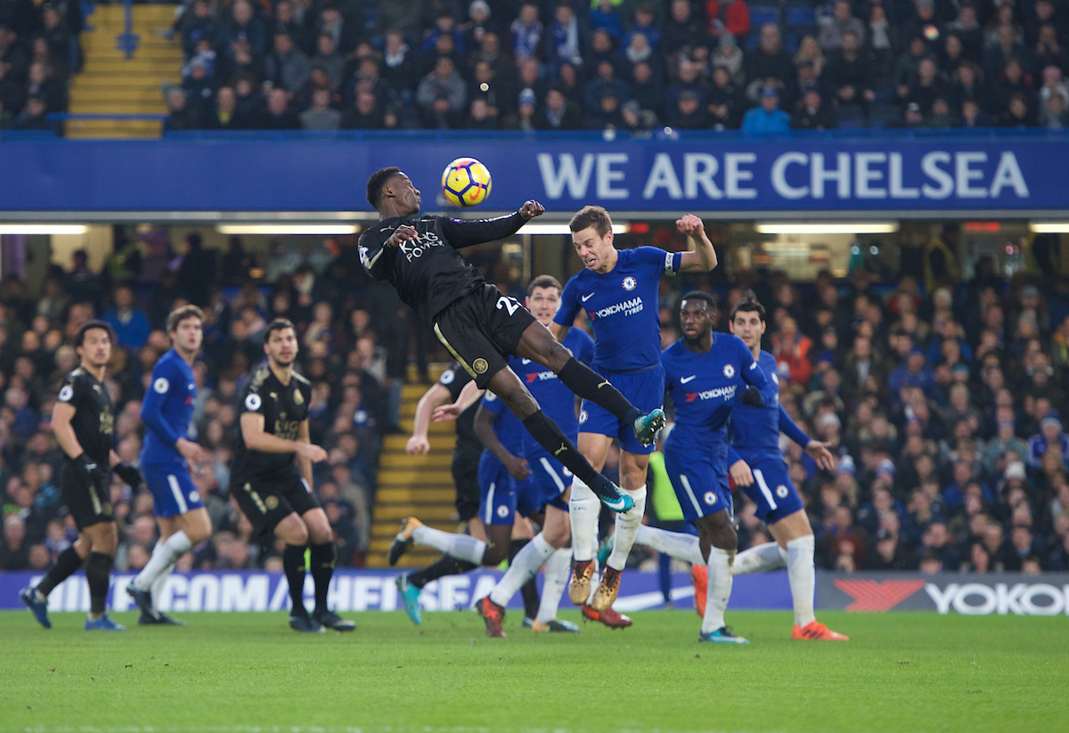 Wilfred Ndidi of Leicester City and Cesar Azpilicueta of Chelsea during the Premier League match at Stamford Bridge, London Picture by Alan Stanford/Focus Images Ltd +44 7915 056117 13/01/2018