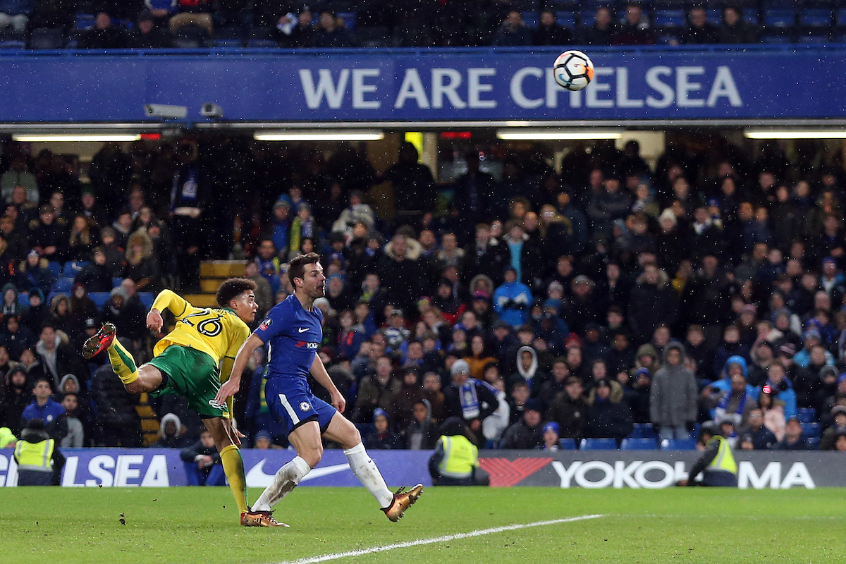 Jamal Lewis of Norwich scores his sides equalising goal to make the score 1-1- in the dying seconds during the Third Round FA Cup Replay match at Stamford Bridge, London Picture by Paul Chesterton/Focus Images Ltd +44 7904 640267 17/01/2018