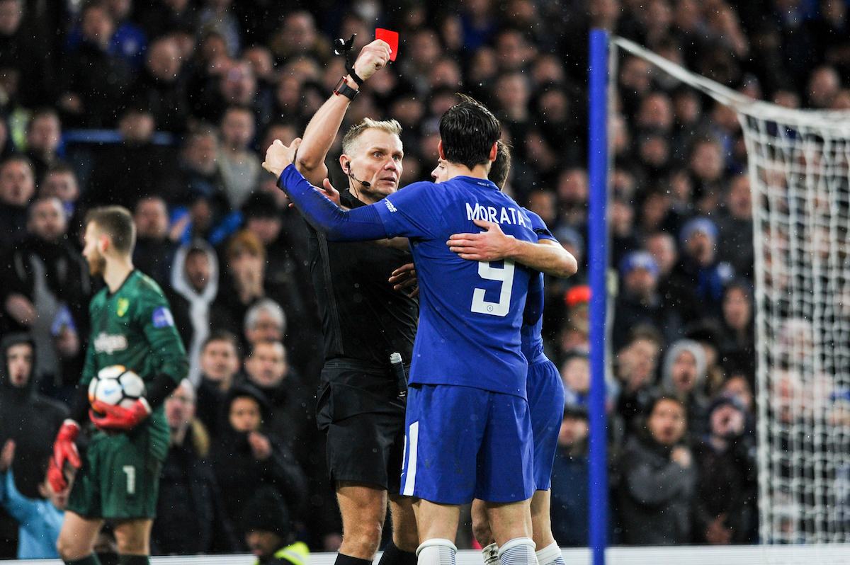 Alvaro Morata of Chelsea receives a red card from referee Graham Scott during the Third Round FA Cup Replay match at Stamford Bridge, London Picture by Alex Burstow/Focus Images Ltd 07814032530 17/01/2018