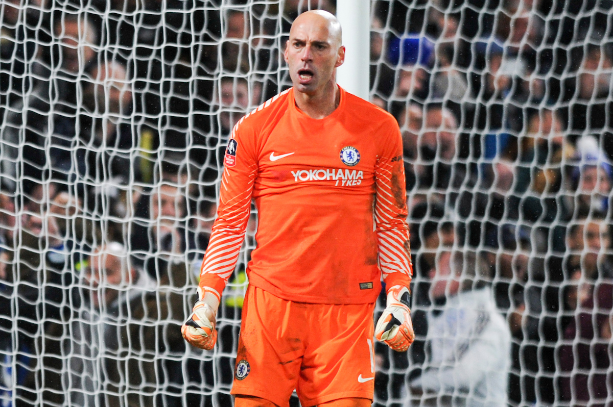 Willy Caballero of Chelsea reacts after saving a penalty during the Third Round FA Cup Replay match at Stamford Bridge, London Picture by Alex Burstow/Focus Images Ltd 07814032530 17/01/2018