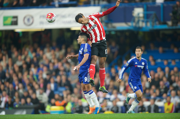 Virgil van Dijk of Southampton climbs above Radamel Falcao of Chelsea to win the ball during the Barclays Premier League match at Stamford Bridge, London Picture by Alan Stanford/Focus Images Ltd +44 7915 056117 03/10/2015