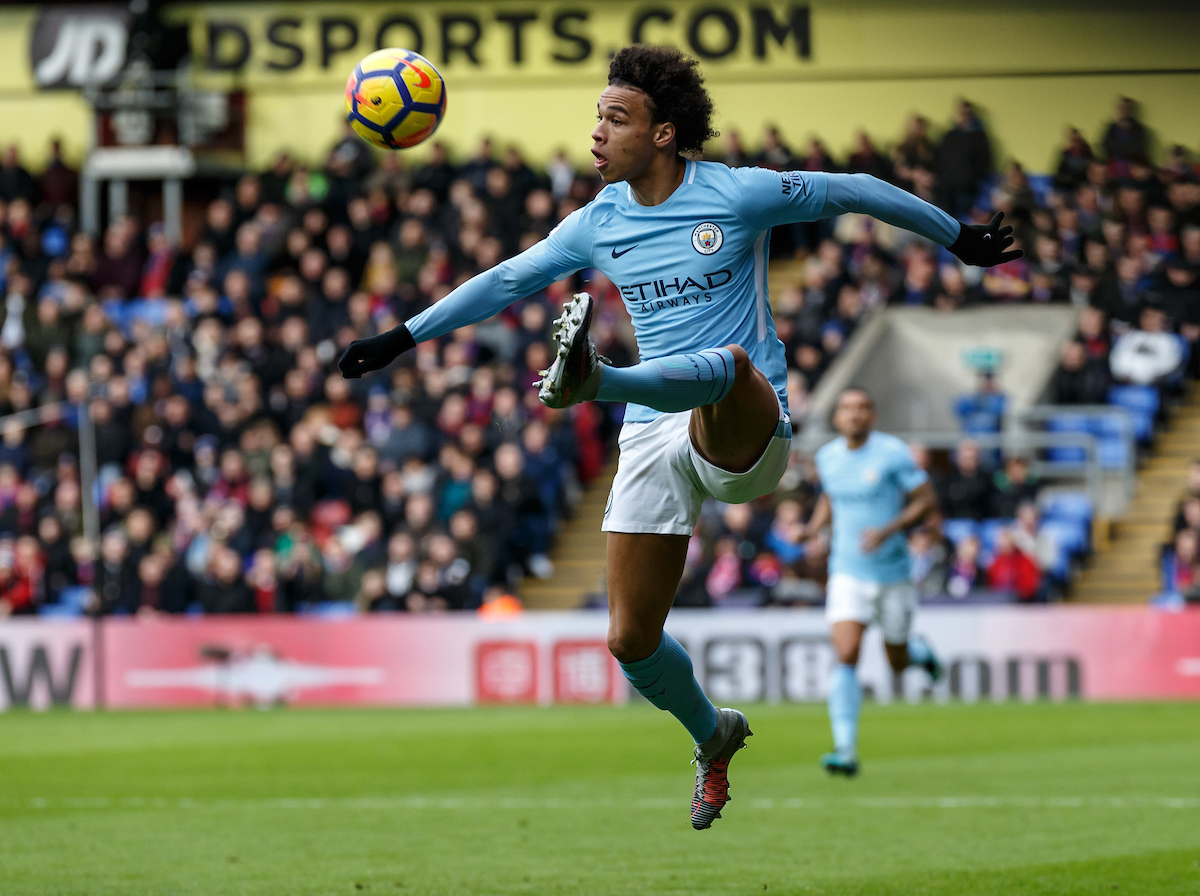 Leroy Sane of Manchester City during the Premier League match at Selhurst Park, London Picture by Liam McAvoy/Focus Images Ltd 07413 543156 31/12/2017