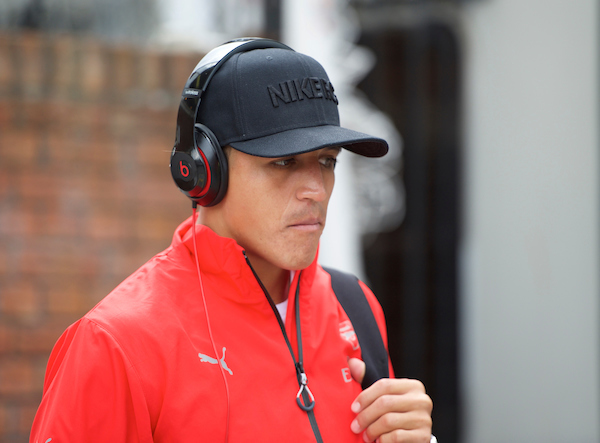 Alexis Sanchez of Arsenal arriving for the Barclays Premier League match at Selhurst Park, London Picture by Alan Stanford/Focus Images Ltd +44 7915 056117 16/08/2015