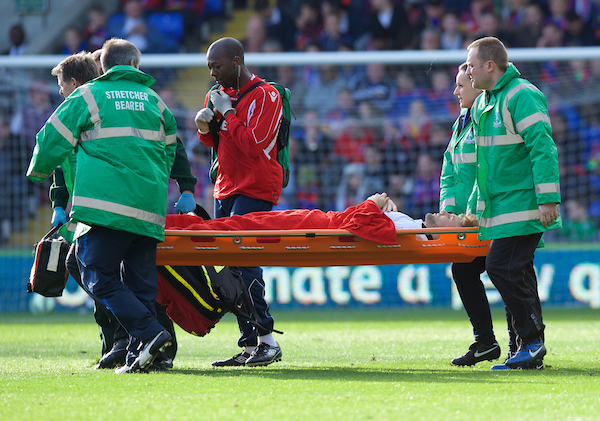 Luke Shaw of Manchester United suffers an injury and is stretchered off during the Barclays Premier League match at Selhurst Park, London Picture by Alan Stanford/Focus Images Ltd +44 7915 056117 09/05/2015