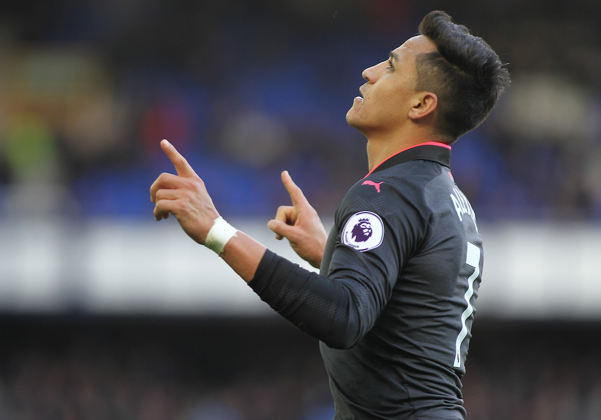 Alexis Sanchez of Arsenal celebrates scoring the fifth goal against Everton during the Premier League match at Goodison Park, Liverpool.  Picture by Michael Sedgwick/Focus Images Ltd +44 7900 363072  22/10/2017