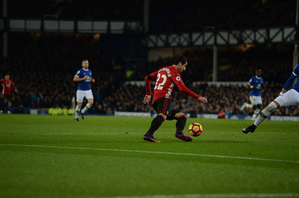 Henrikh Mkhitaryan of Manchester United (left) shoots at goal during the Premier League match at Goodison Park, Liverpool Picture by Russell Hart/Focus Images Ltd 07791 688 420 04/12/2016