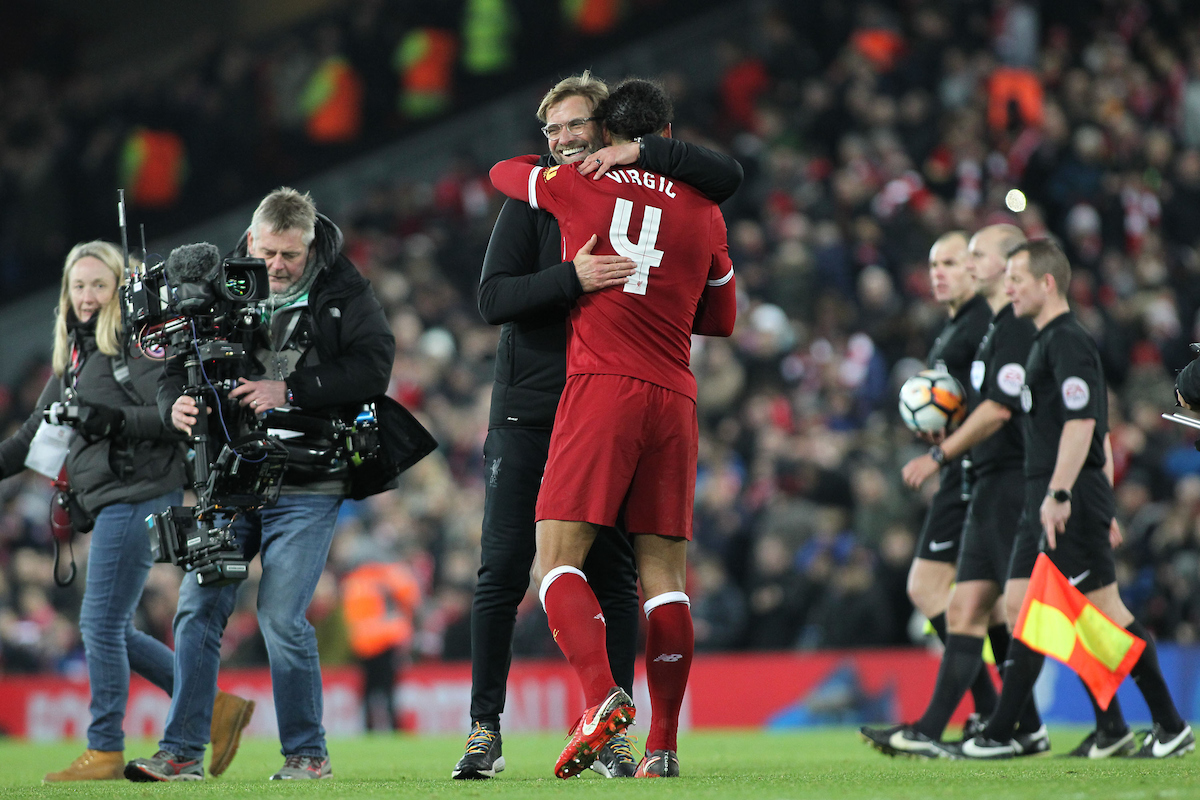 Virgil van Dijk of Liverpool celebrates with Jurgen Klopp after the 2-1 win against Everton in the FA Cup match at Anfield, Liverpool. Picture by Michael Sedgwick/Focus Images Ltd +44 7900 363072 05/01/2018