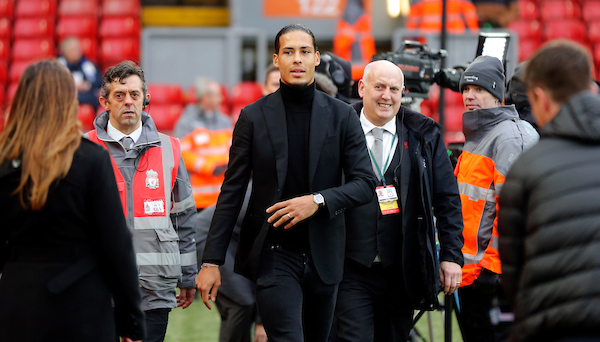 Virgil van Dijk (c) of Liverpool prior to the Premier League match at Anfield, Liverpool Picture by Simon Moore/Focus Images Ltd 07807 671782 30/12/2017