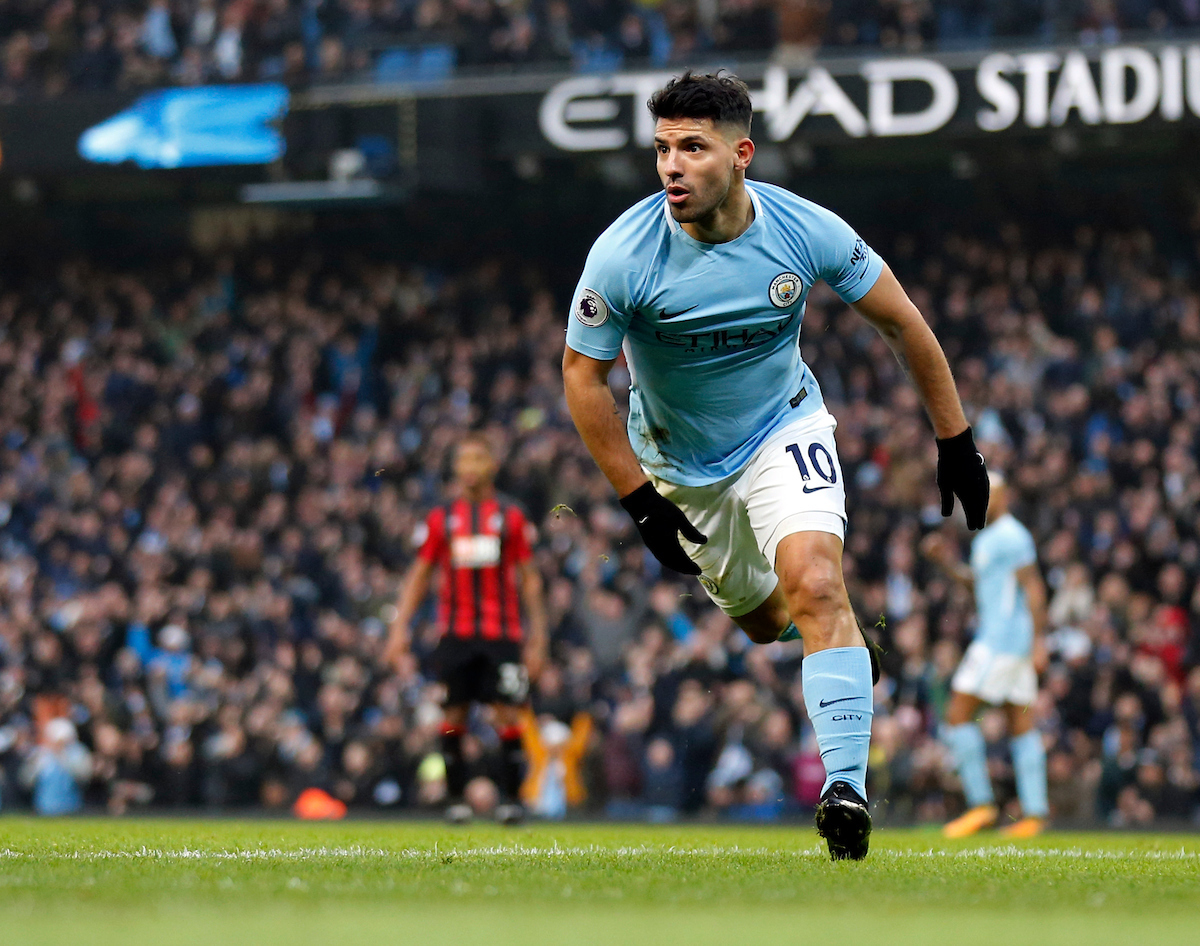 Sergio Aguero of Manchester City celebrates scoring the opening goal during the Premier League match at the Etihad Stadium, Manchester Picture by Simon Moore/Focus Images Ltd 07807 671782 23/12/2017