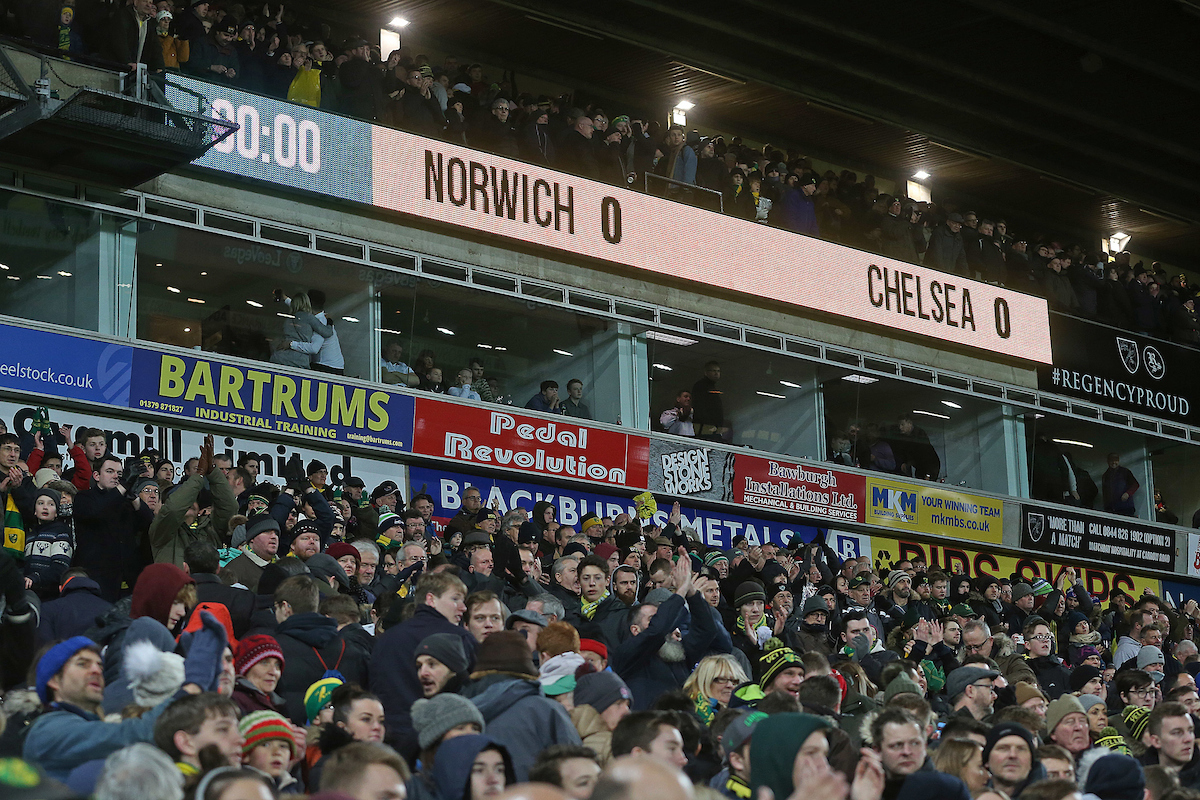 The scoreboard at the end of the FA Cup match at Carrow Road, Norwich Picture by Paul Chesterton/Focus Images Ltd +44 7904 640267 06/01/2018