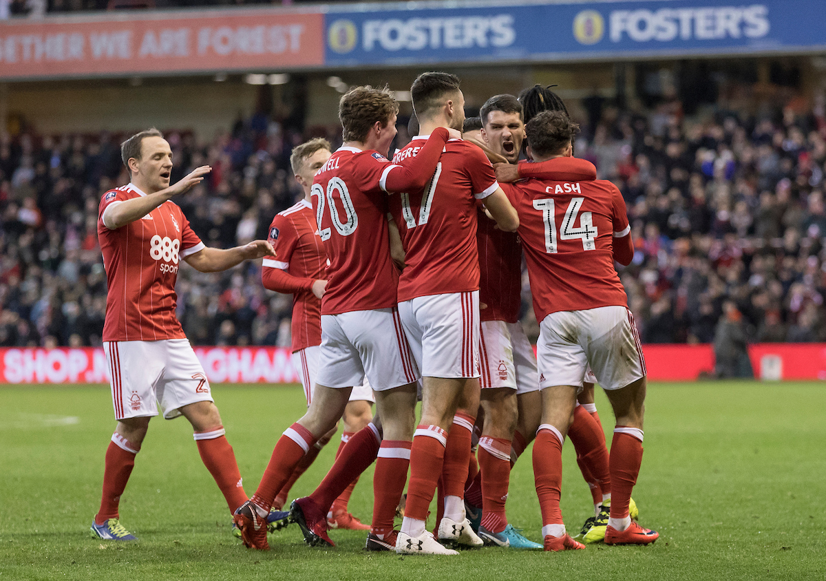 Eric Lichaj of Nottingham Forest scores the opening goal of the game and celebrates with team mates during the Third Round FA Cup match at the City Ground, Nottingham Picture by James Wilson/Focus Images Ltd 07522 978714?? 07/01/2018