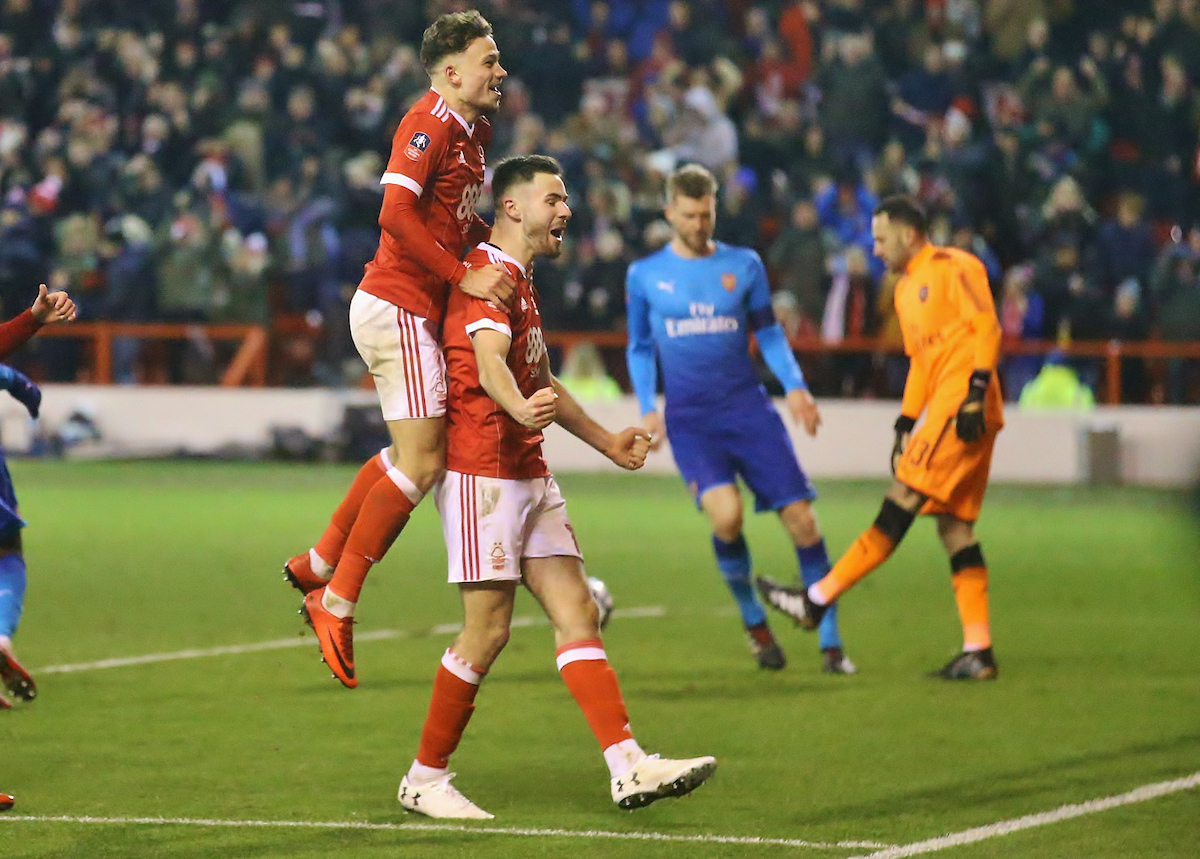 Ben Brereton of Nottingham Forest celebrates with Matty Cash (L) after putting his side 3-1 up during the Third Round FA Cup match at the City Ground, Nottingham Picture by Will Kilpatrick/Focus Images Ltd 07964 414368 07/01/2018
