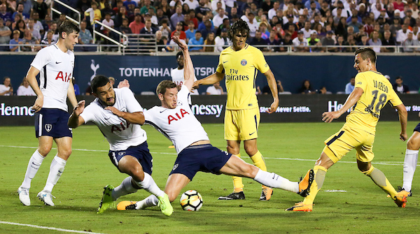 Giovani Lo Celso of Paris Saint-Germain shoots and Tottenham Hotspur defends during the 2017 International Champions Cup match at the Camping World Stadium, Orlando, USA. Picture by Adam Kiefer/Focus Images Ltd +1 407 558 3756 22/07/2017