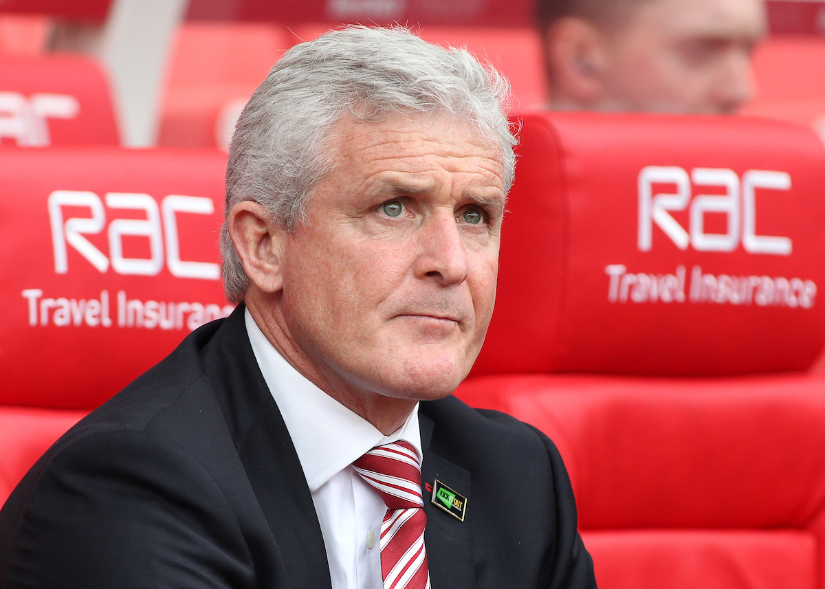 Mark Hughes, manager of Stoke City on the touchline prior to the Premier League match against West Ham United at the Bet 365 Stadium, Stoke-on-Trent. Picture by Michael Sedgwick/Focus Images Ltd +44 7900 363072 29/04/2017