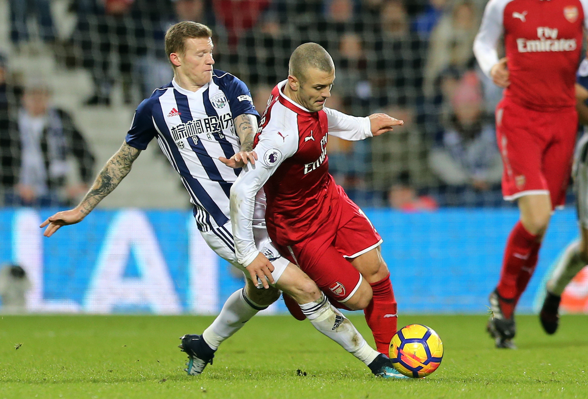 James McClean (l) of West Bromwich Albion and Jack Wilshere of Arsenal during the Premier League match at The Hawthorns, West Bromwich Picture by Simon Moore/Focus Images Ltd 07807 671782 31/12/2017