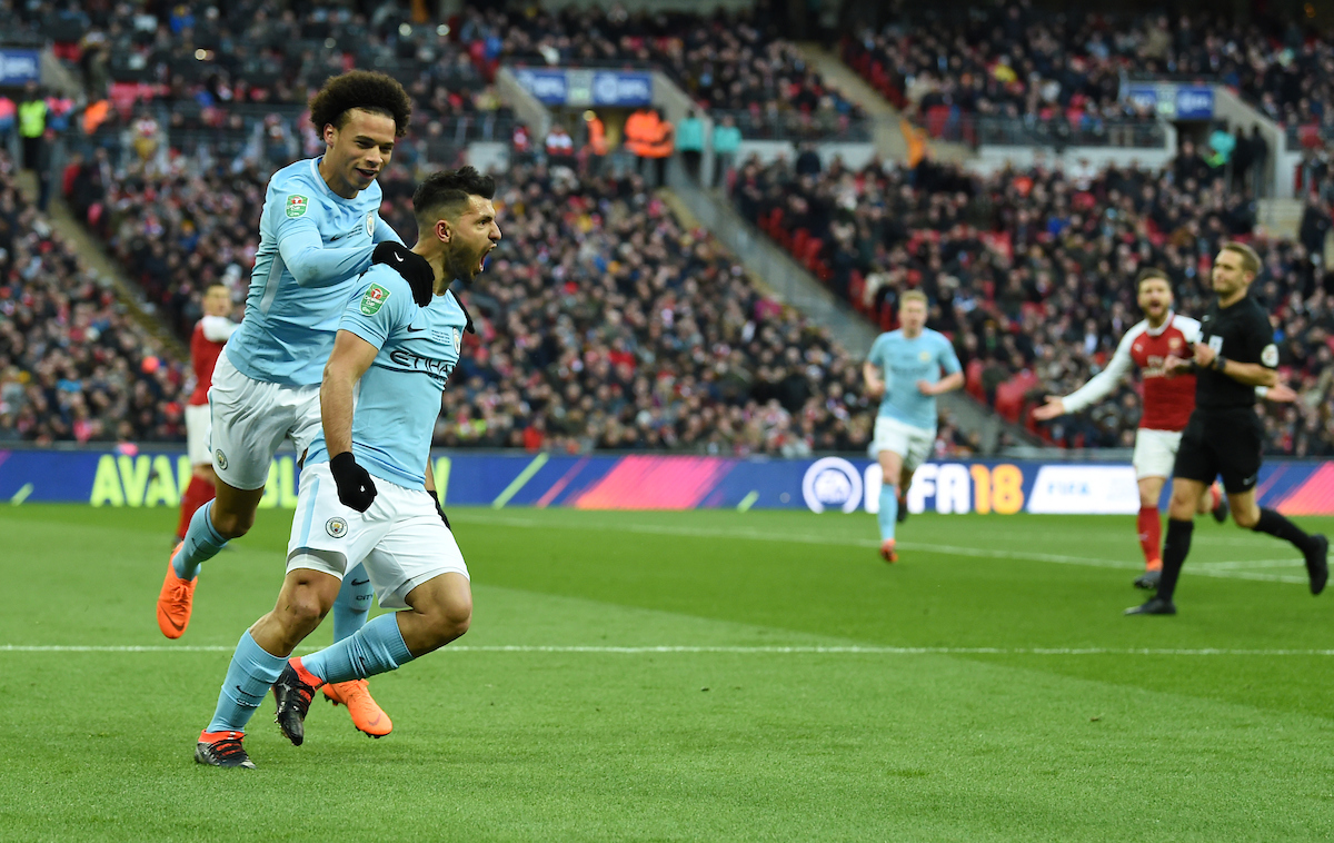 Sergio Agüero of Manchester City celebrates after scoring  during the Carabao Cup Final match at Wembley Stadium, London Picture by Simon Dael/Focus Images Ltd 07866 555979 25/02/2018