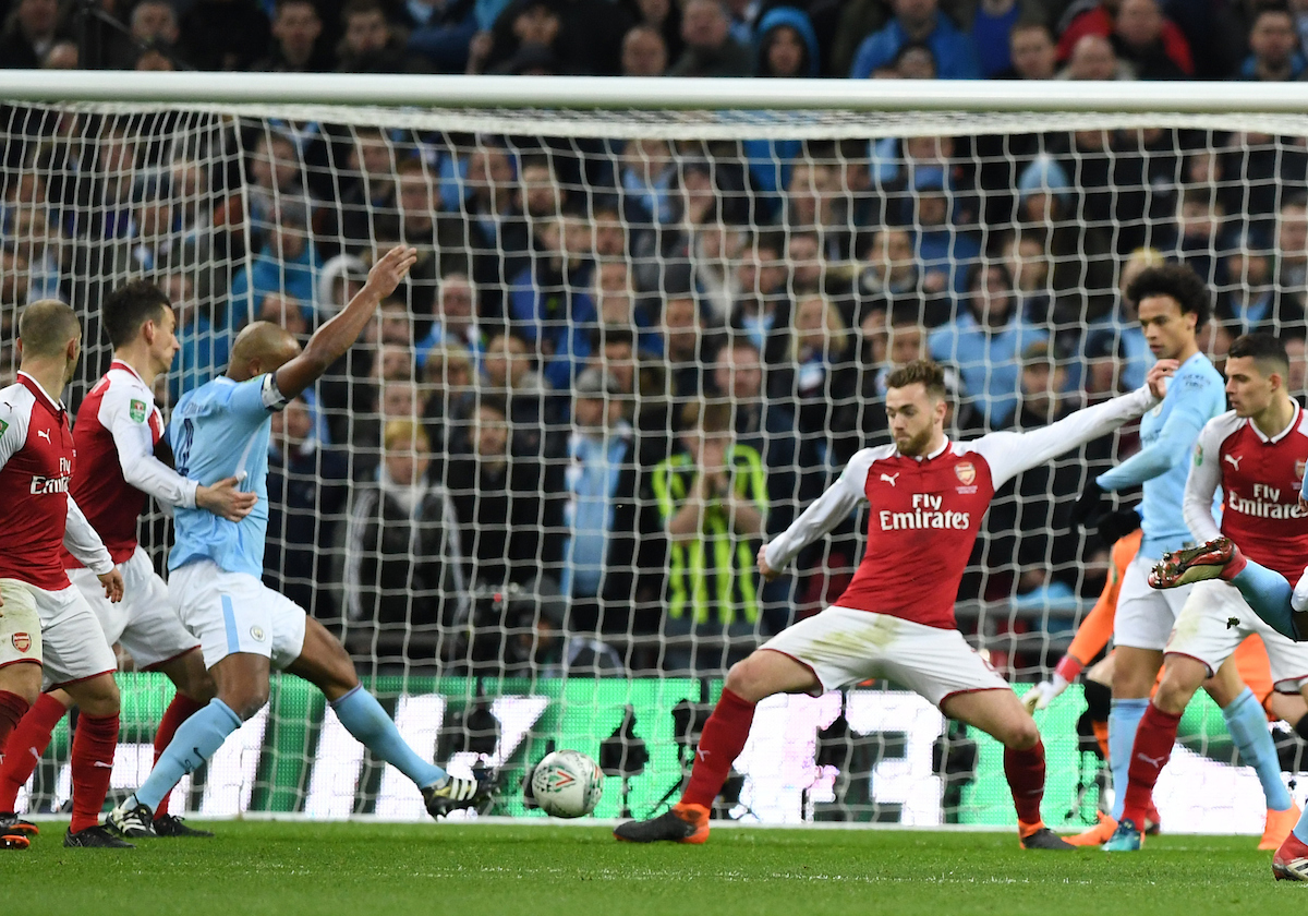 Vincent Kompany of Manchester City scoring their second goal during the Carabao Cup Final match at Wembley Stadium, London Picture by Simon Dael/Focus Images Ltd 07866 555979 25/02/2018