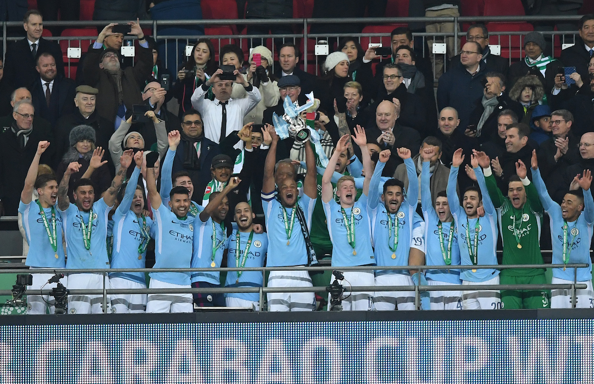 Vincent Kompany of Manchester City lifts the trophy at the end of the Carabao Cup Final match at Wembley Stadium, London Picture by Simon Dael/Focus Images Ltd 07866 555979 25/02/2018