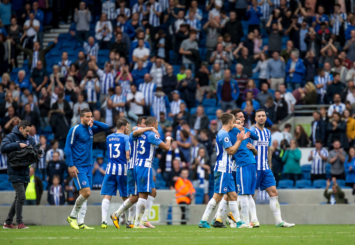 Brighton players celebrate at the final whistle during the Premier League match at the American Express Community Stadium, Brighton and Hove Picture by Liam McAvoy/Focus Images Ltd 07413 543156 09/09/2017
