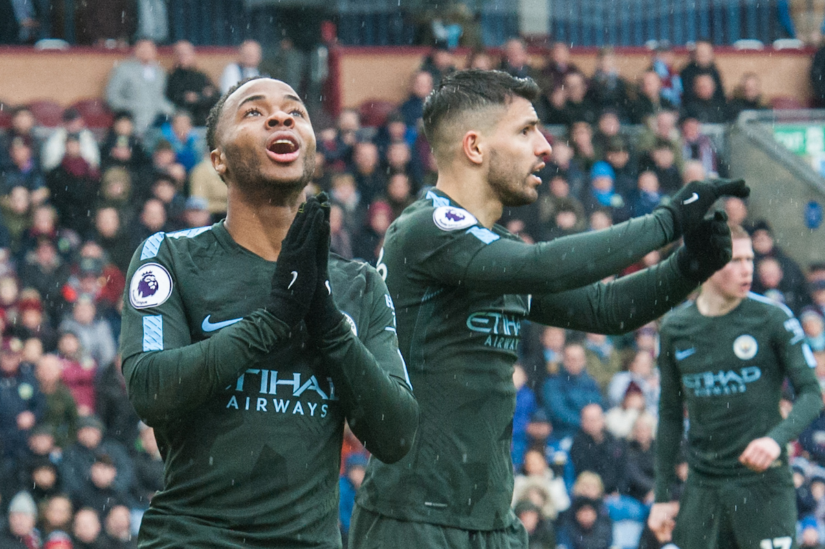 Raheem Sterling of Manchester City (left) rues a missed goal opportunity as Sergio Aguero appeals to the referee during the Premier League match at Turf Moor, Burnley Picture by Matt Wilkinson/Focus Images Ltd 07814 960751 03/02/2018