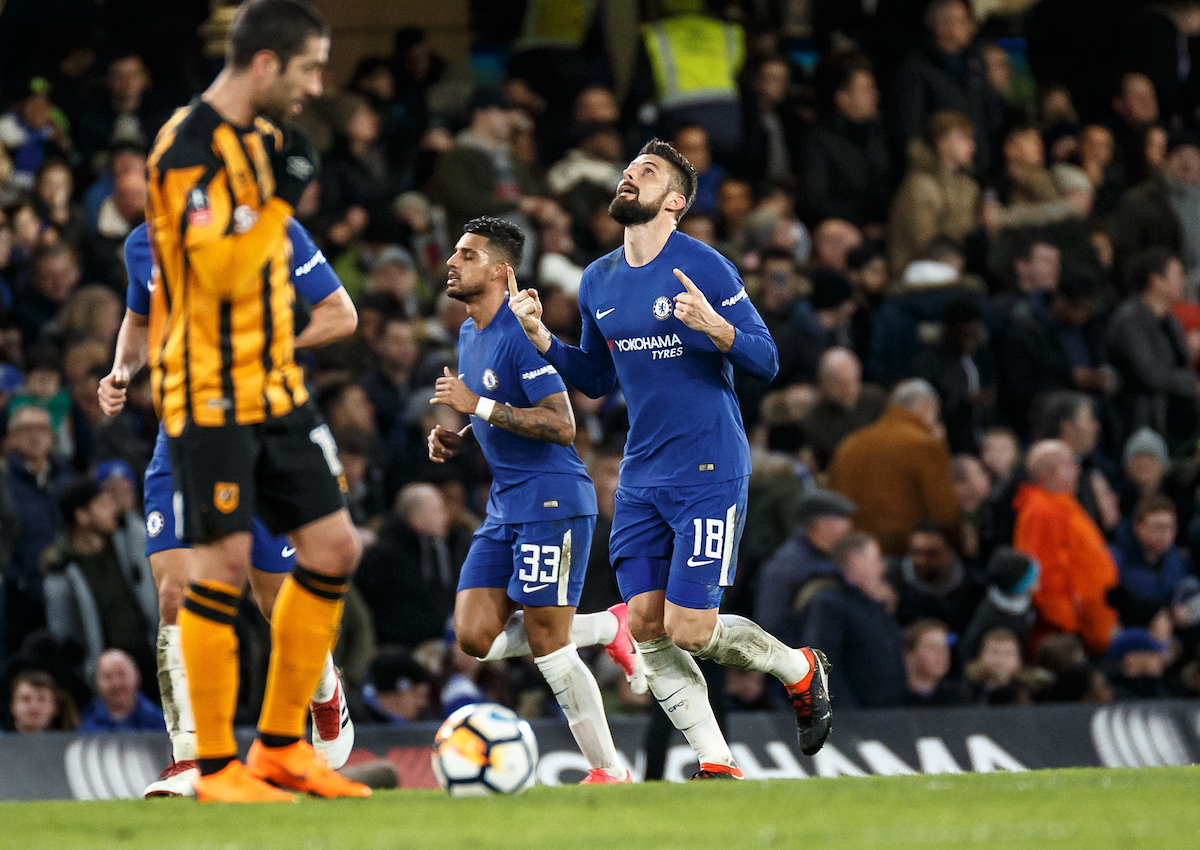 Olivier Giroud of Chelsea celebrates his goal during the FA Cup fifth round match at Stamford Bridge, London Picture by Liam McAvoy/Focus Images Ltd 07413 543156 16/02/2018