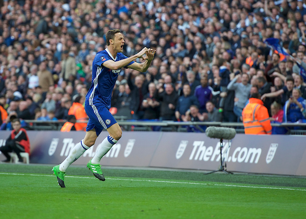Nemanja Matic of Chelsea celebrates after scoring his side's 4th goal to make it 4-2 during the FA Cup semi-final match at Wembley Stadium, London Picture by Alan Stanford/Focus Images Ltd +44 7915 056117 22/04/2017