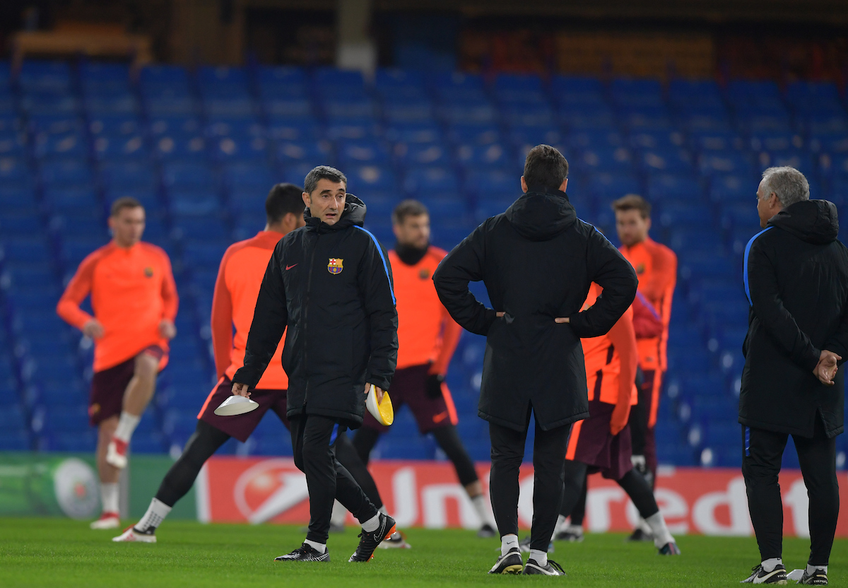 Ernesto Valverde manager during the FC Barcelona Training Session at Stamford Bridge, London, UK. Picture by Simon Dael/Focus Images Ltd 07866 555979 19/02/2018