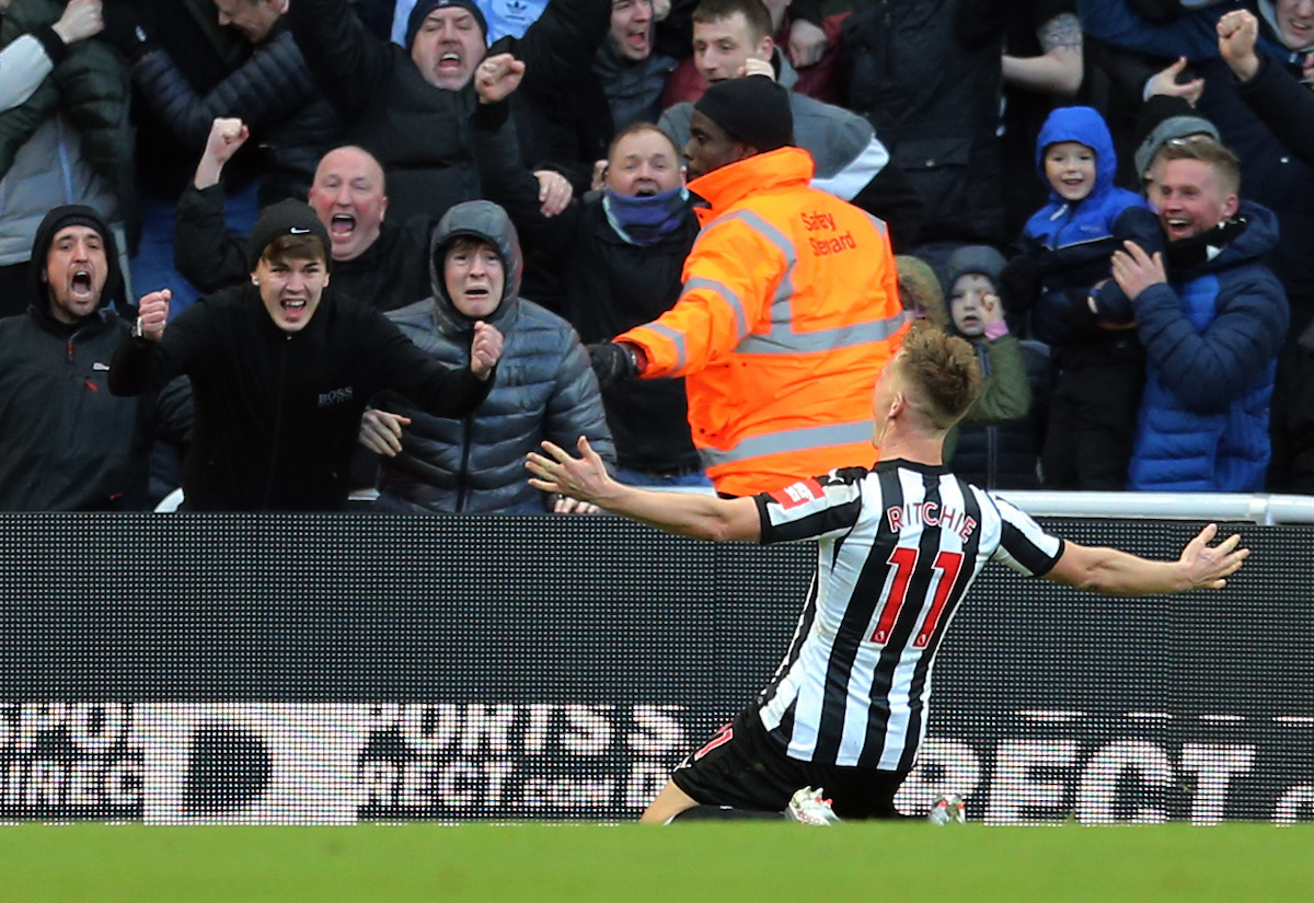 Matt Ritchie of Newcastle United celebrates scoring the opening goal during the Premier League match at St. James's Park, Newcastle Picture by Simon Moore/Focus Images Ltd 07807 671782 11/02/2018