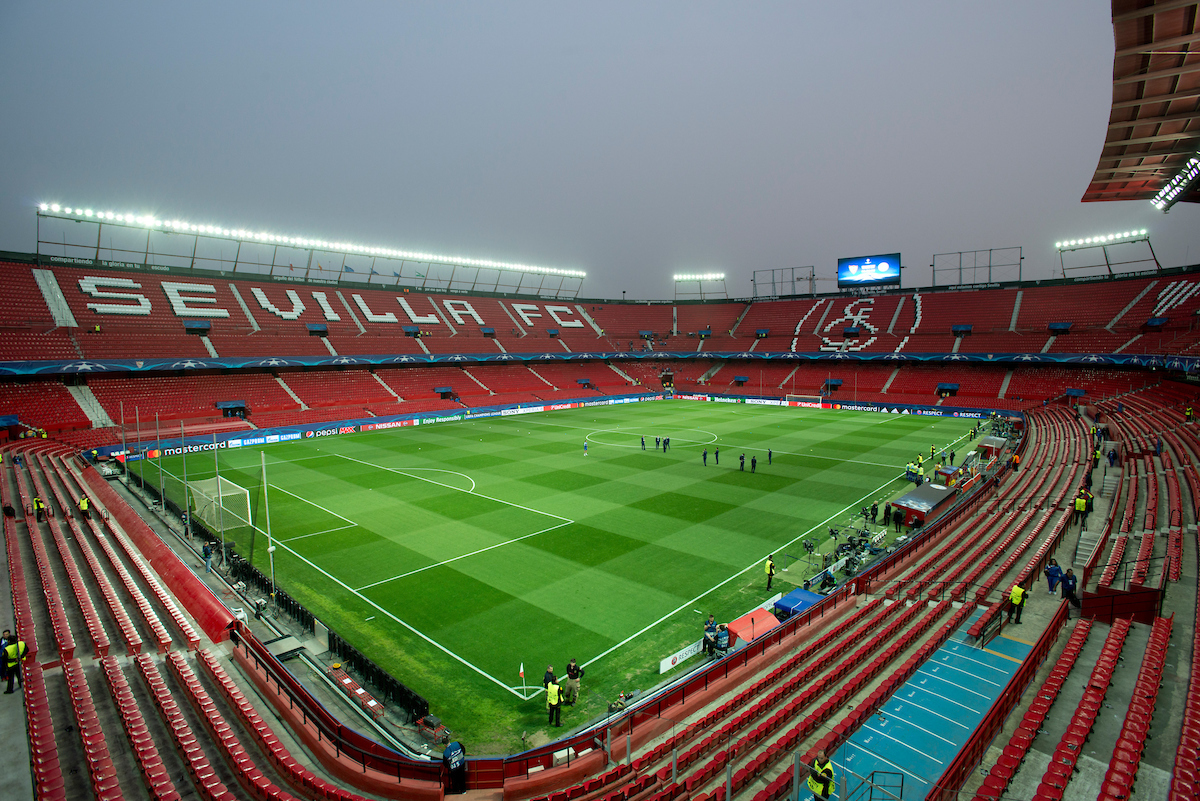 A general view of the stadium before the UEFA Champions League match at Ramon Sanchez Pizjuan Stadium, Seville Picture by Russell Hart/Focus Images Ltd 07791 688 420 22/02/2017