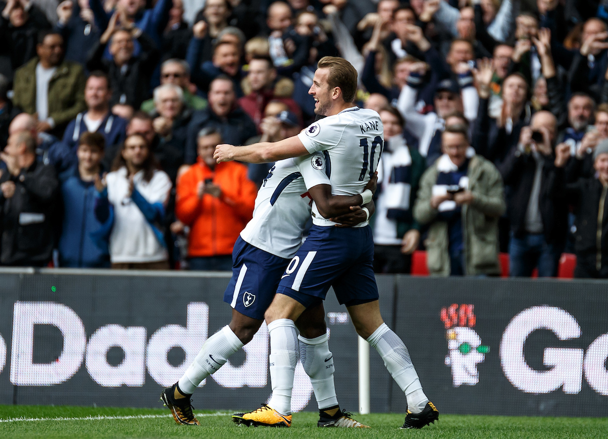 Harry Kane of Tottenham Hotspur celebrates his goal during the Premier League match at Wembley Stadium, London Picture by Liam McAvoy/Focus Images Ltd 07413 543156 22/10/2017