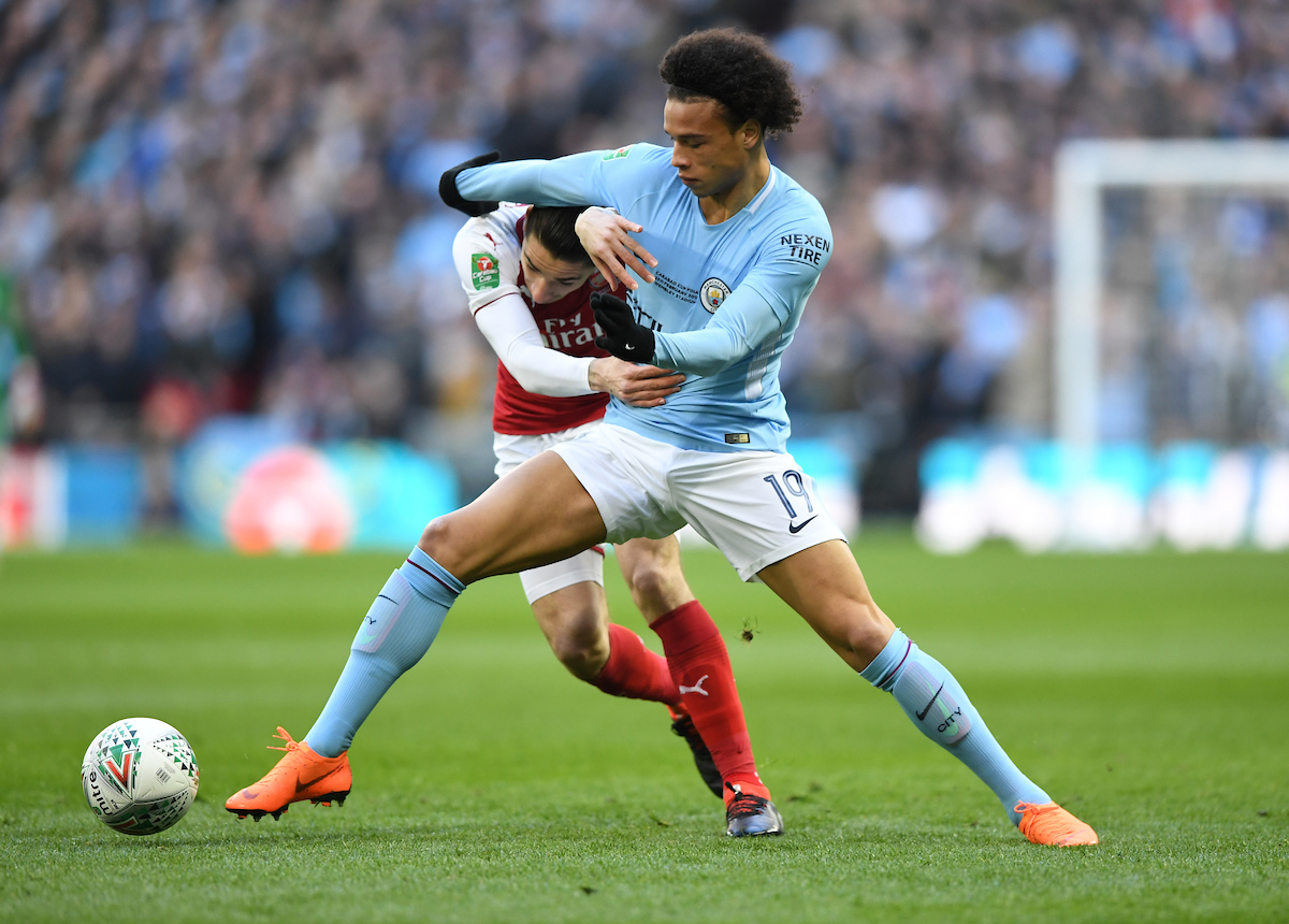 Héctor Bellerín of Arsenal and Leroy Sané of Manchester City battle for the ball during the Carabao Cup Final match at Wembley Stadium, London Picture by Simon Dael/Focus Images Ltd 07866 555979 25/02/2018