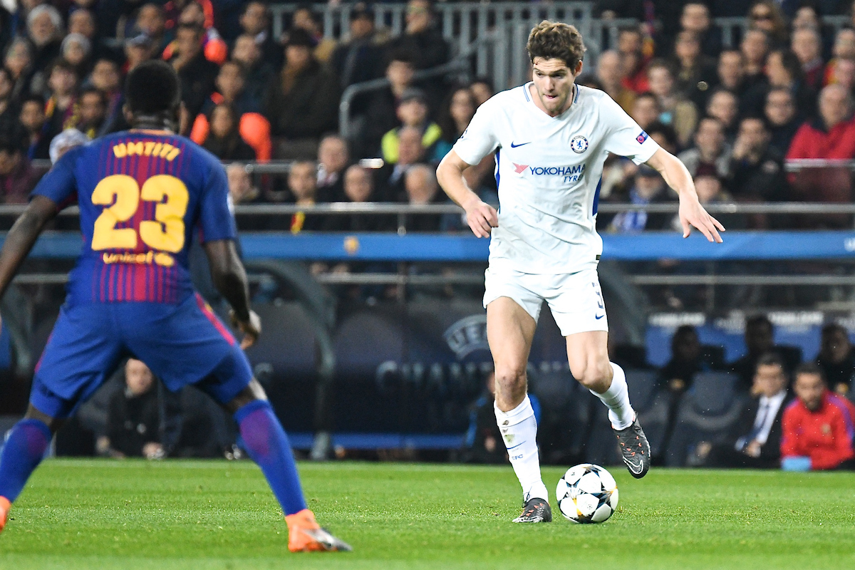 Marcos Alonso of Chelsea during the UEFA Champions League match at Camp Nou, Barcelona Picture by Kristian Kane/Focus Images Ltd +44 7814 482222 14/03/2018