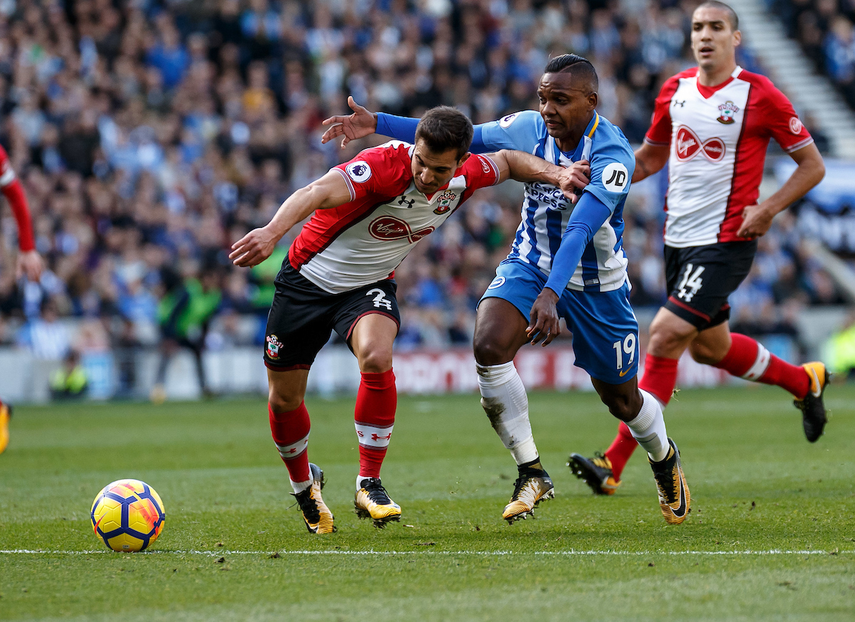 Cedric Soares of Southampton holds off Jose Izquierdo of Brighton & Hove Albion during the Premier League match at the American Express Community Stadium, Brighton and Hove Picture by Liam McAvoy/Focus Images Ltd 07413 543156 29/10/2017