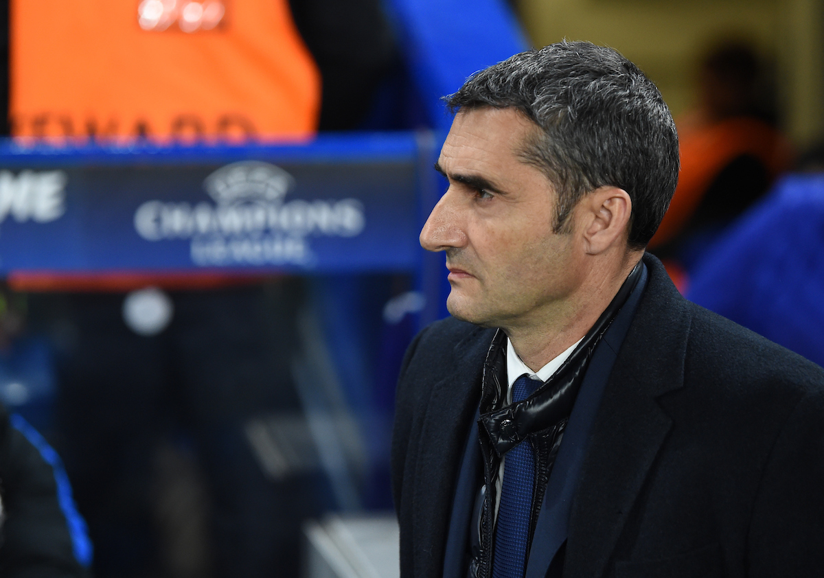 Ernesto Valverde manager of FC Barcelona during the UEFA Champions League match at Stamford Bridge, London Picture by Simon Dael/Focus Images Ltd 07866 555979 20/02/2018